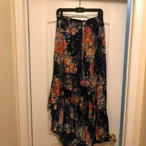 Cheery wrap maxi skirt with ruffled hem